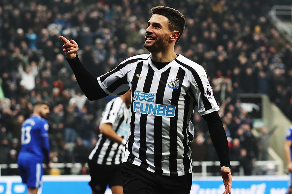 Newcastle United's Fabian Schar celebrates scoring against Cardiff City