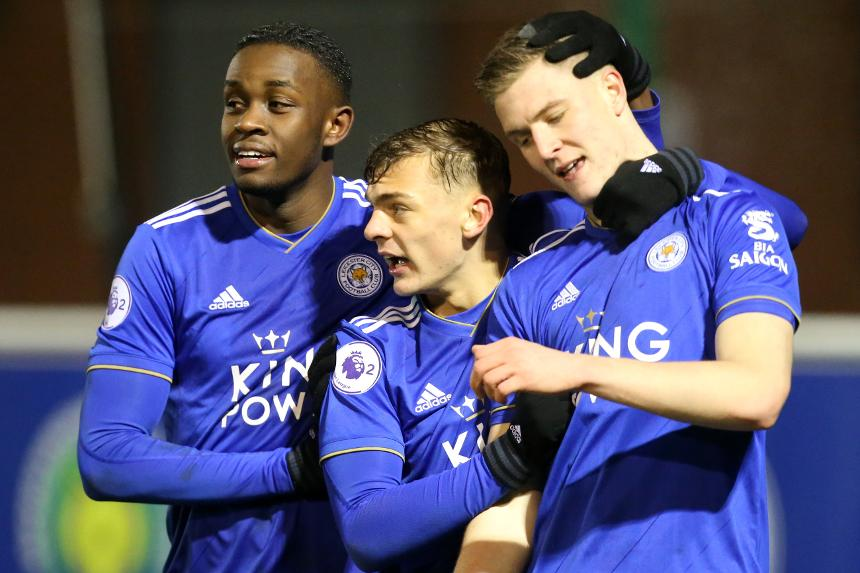 Leicester City players celebrate