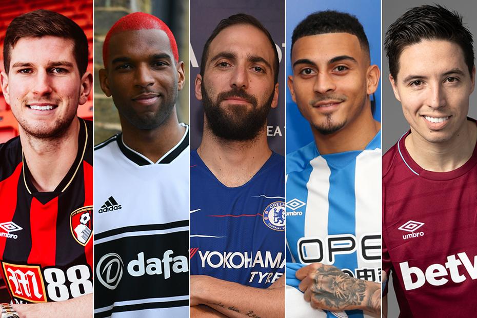 Left to right: Chris Mepham, Ryan Babel, Gonzalo Higuain, Karlan Grant, Samir Nasri