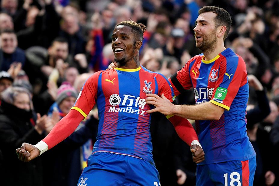 Crystal Palace's Wilfried Zaha celebrates scoring against West Ham United