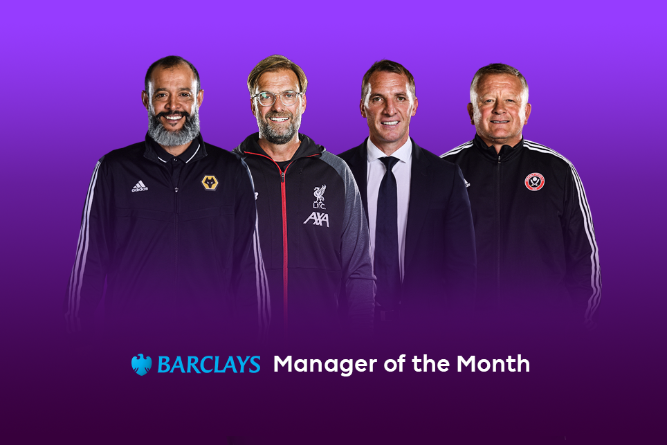 Nominees for Barclays Manager of the Month award